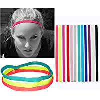 12Pcs Sports Headbands Slim Hairband,Elastic Anti-slip,Thin Skinny Bands with Silicone Lined Sweatband for Women and Men,Headband for Athletics,Yoga,Golf,Running,Soccer,Jogging, Workout and More