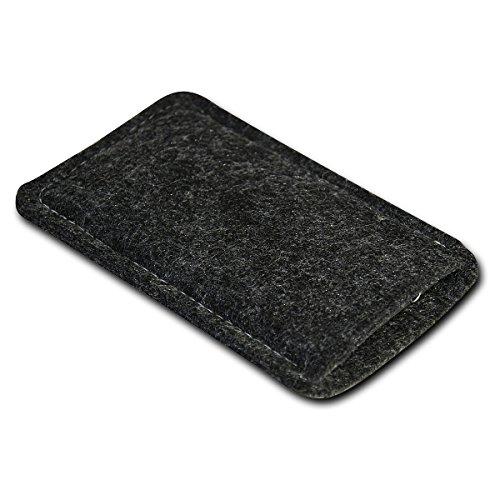 Filz Style Apple Iphone 7 Premium Filz Handy Tasche Hülle Etui passgenau für Apple Iphone 7 - Farbe schwarz schwarz-grau