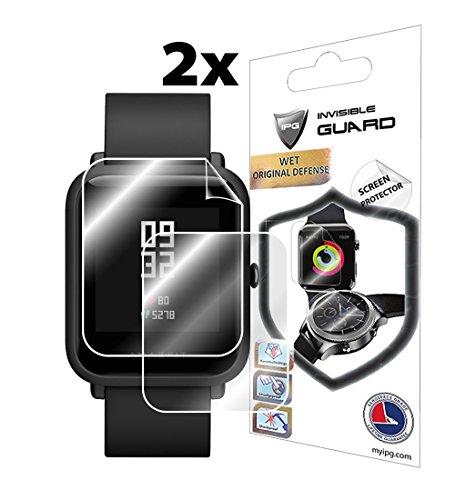 Für Xiaomi huami amazfit (SC) (2x) Smartwatch Displayschutzfolie Unsichtbar Ultra HD Clear Film Anti Scratch Haut Guard-Smooth/selbstheilend/Bubble-Frei von IPG Scratch Guard