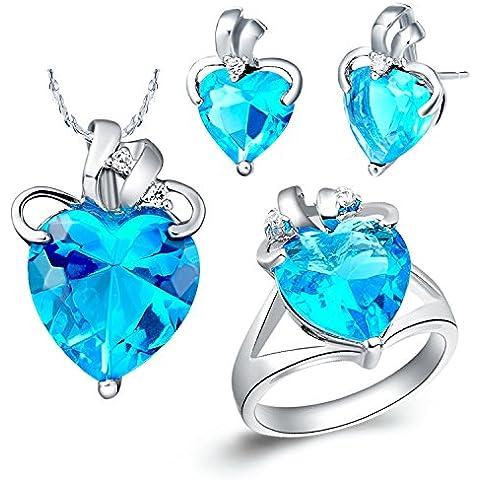 AnaZoz Joyería de Moda Juegos de Joyas de Mujer Cristal Austriaco Chapado en Plata Forma Corazón Azul Collar y Pendientes y Anillo Juegos de Joyas Tres Piezas Color Azul