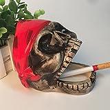 CS Il posacenere Ufficio Fumatori armamentario Casa Arredamento Ornamenti Artigianali in Ceramica Teschio (Color : Red)