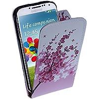 wortek® Flip Case Samsung Galaxy S4 i9500 mit Blumen Blüten Muster Weiß / Rosa