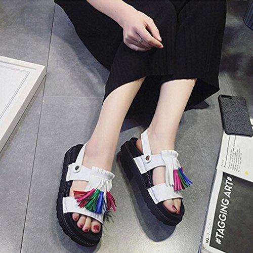 Ouneed® Femme Frange Sandale & Mules Flip Flop Gladiateur Petit Compensé Blanc