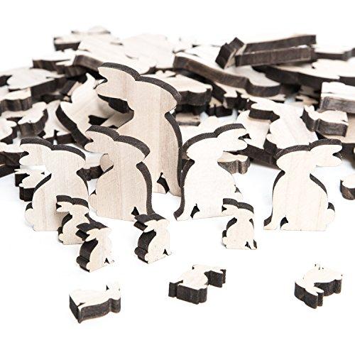 Coniglietti di Pasqua in legno naturale, grande set da 72pezzi, dimensioni:2,5fino a 7cm, adatti per il fai-da-te e come decorazioni pasquali da tavola o da applicare sui regali