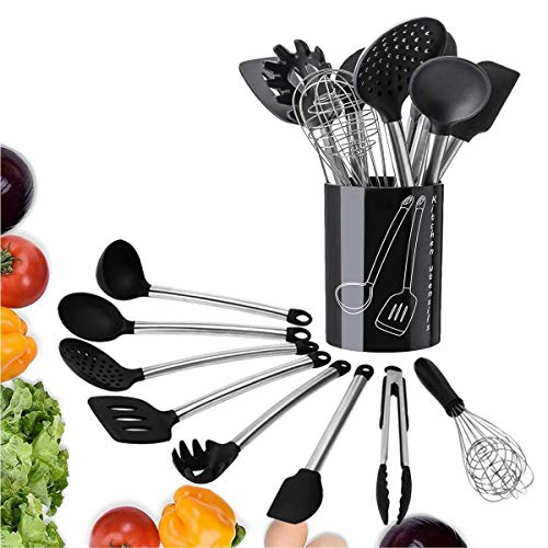 Cookey Silicone Kitchen Utensils With Stainless Steel Handles – Set Of 8 Heat Resistant & Nonstick Cooking Tools – Tongs, Serving Spoon, Whisk, Spatula, Ladle, Slotted Turner, Spatula, Handheld Skimmer