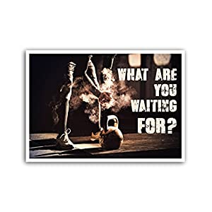 LAB NO 4 What Are You Waiting Gym Motivational Quote Framed Poster in (11″ X 14″) Size