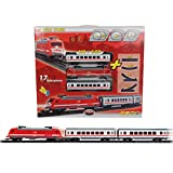 City Train Zug Set, 17 teilig mit 2 Personenwaggons und versch. Schienen: H0 Zug Set Lok 2 Waggons Fahren Licht Sound Eisenbahn Kinder Spielzeug