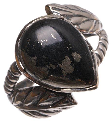 stargems (TM) natur Apache Gold Stein handgefertigt Einzigartige 925Sterling Silber Ring, UK Größe P 1/2