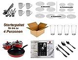 Haushalt Starterset '4 Personen' - Wohneinrichtung Starterpaket - Einrichtungspaket - (Küche, Besteck, Geschirr)