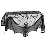 Fireplace Scarf Mysterious Lace Spider Wed / Bat Mantle Lace Runner Fireplace able Cloth Scarf Festive Supplies for Halloween Valentine's Day Party Door Window Decoration Black