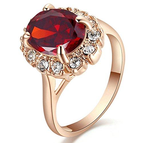 Yoursfs Bague rouge femme 56mm Or rose plaqué Solitaire en Rubis ovale pour Maman comme Accessoire mariage Saint Valentin