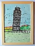 La tour de Pisa-Peint à l'aquarelle et marqueur noir sur papier Fabriano ruvida.A4, Dimensions cm 21x29,3x0,1 cm +Cadre en bois.MADE IN ITALY, fabriqué par Davide Pacini.