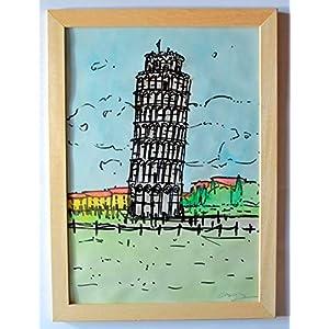 Der Turm von Pisa-In Aquarell gemalt,und schwarze Markierung auf dem Papier rauher Fabriano A4,Abmessungen cm 21×29,3×0…