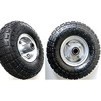 S+S – Neumáticos de aire, 2 unidades, llanta de acero 4,10 / 3,50 - 4, diámetro de 260 mm para carretas, carretillas, carros