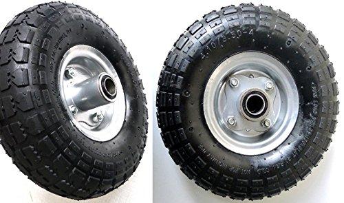 D&F 4.10/3.50-4- Lot de 2 roues pneumatiques, jante en acier, diamètre 260 mm, pour brouette, landau