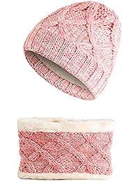 Tpulling Bonnet Bebe, Enfants Bonnet de Laine Tricot Bonnet Raton Laveur  Warm Caps + écharpe 46ac14498b1