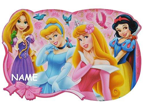 mmend - Disney Princess - Belle Schneewittchen Rapunzel Dornröschen - Prinzessin - incl. NAMEN Tischunterlage / Platzdeckchen / Malunterlage / Knetunterlage - Mädchen Aschenputtel (Namen Von Disney Prinzessinnen)