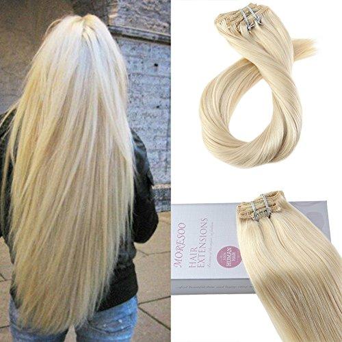 Moresoo 16pouces/40cm 120gram 7pcs Blond/#613 Lisse Extension Cheveux Naturel Lisse Remy Naturel Bresilienne Hair Extensions de Cheveux Humains à Clips