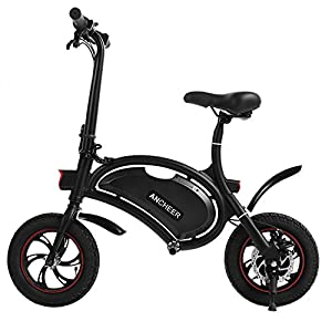 Ancheer Folding Electric Bike, 12inch Smart Electric Bicycle Foldable E-Bike 36V 350W Scooter with APP Speed Setting and Fast Charging Black