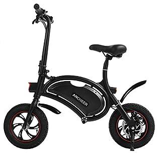 ancheer zusammenklappbar E-Bike mit 30,5cm E-Bike Elektro Scooter mit 12Mile Range, zusammenklappbarer Rahmen und App Speed Einstellung schwarz, 12'' Black (36V/4.4AH)