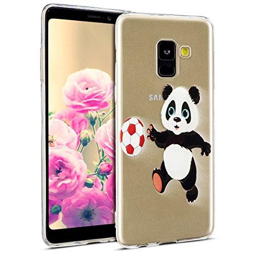 Kompatibel mit Hülle Galaxy A8 Plus 2018 Handyhüllen Transparent Weiche Silikon Durchsichtig TPU Kratzfest Schutzhülle Crystal Clear Ultra Dünn Silikonhülle Handytasche,Cartoon Panda