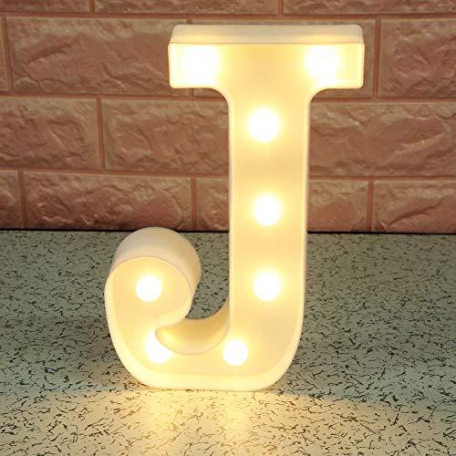 Broadroot 3D Englisch Buchstaben Form LED Nachtlicht Wandbehang Festzelt Zeichen Alphabet Licht Schlafzimmer Hochzeit Party Leuchte Deko Lampe (J)