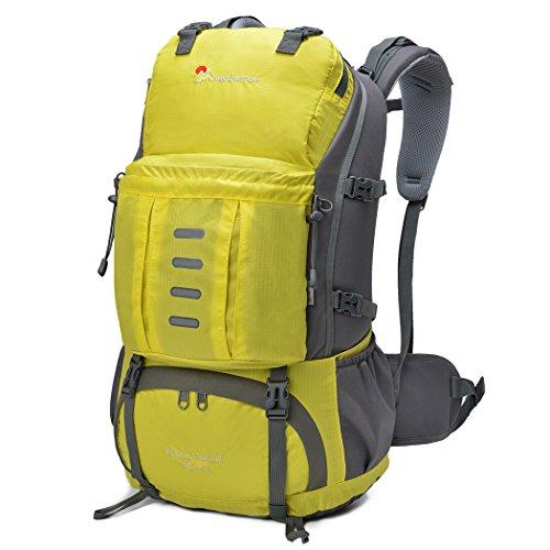 Mardingtop 25L/30L/45L/50L/60L Rucksack Wanderrucksack Trekkingrucksäcke für Camping/Klettern / Reisen/Schultasche / Fahrrad, mit Eine Regenschutz (Yellow, 45 Liter)