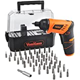 VonHaus Cordless 3.6V Lithium-Ion LED Light Screwdriver with Twistable Handle & 50pc Accessory Set including Case - FREE 2 Year Warranty