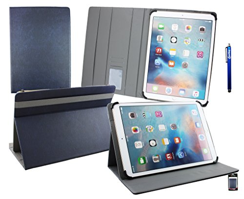 Emartbuy® Blaupunkt Endeavour 1100 11.6 Zoll Tablet PC Universal ( 11 - 12.5 Zoll ) Dark Blau PremiumPULederMulti-AngleExekutiveFolioGeldbörseTascheHülle Grey InnenraummitKartensteckplätze + Blau Stylus