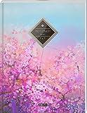 """TULPE Kariertes Notizbuch A4 """"C080 Rosa Blumen"""" (140+ Seiten, Vintage Softcover, Doppelrand, Seitenzahlen, Register - Dickes Notizheft, Matheheft, ... Schulheft, Tagebuch, Kariertes Heft Nr 26)"""