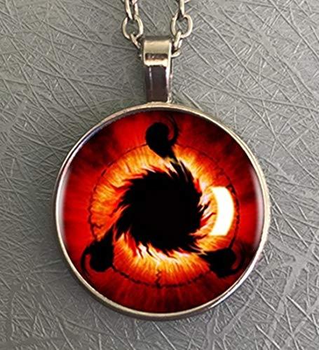 Handgemachte Anime Naruto Sharingan Eye Pendant Glass Dome Schmuck Halskette Uchiha Obito Kakashi Mangekyou Cosplay Geschenk