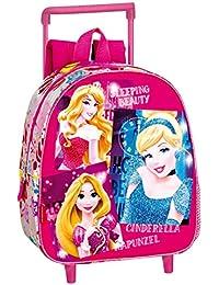 Princesas Disney Carro Mochila Infantil, Color Rosa