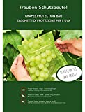 50 sacchetti di protezione per l´uva, dimensione 30 x 20 cm, colore verde, con un nastro per fissarlo, tengono lontani moscerini, vespe e uccelli