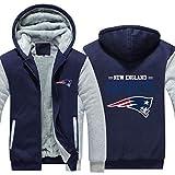 LLforever Sweat À Capuche en Jersey NFL New England Patriots, Plus Velours Rugby Chemise À Manches Longues T-Shirt Imprimé À Capuche Décontractée Pull-Over Épais Confortable,D,XL