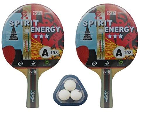 Giant Balls Dragon (kounga Unisex GIANT DRAGON 2x Spirit Energie 3Sterne 3Tischtennis-Set (2Schläger und 3Bälle), rot/schwarz, Einheitsgröße)