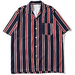 Internet_Hombre Camisa de Manga Corta con Tiras Verticales diarias Sueltas de Estilo japonés,Camisa de Manga Corta a Rayas de Solapa,Camiseta Holgada Casual,Rojo/Amarillo