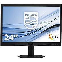 """Philips Monitores 240S4QMB/00 - Monitor de 24"""" (resolución 1920 x 1200 pixels, tecnología WLED, contraste 1000:1, 5 ms, VGA), color negro"""