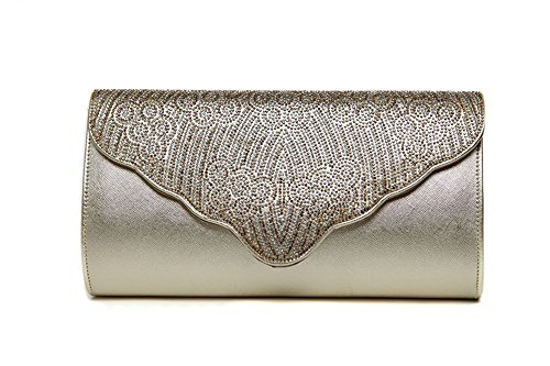 Sacchetto di mano, sacchetto diamante diamante, sacchetto di sera, pacchetto delle signore, pacchetto di modo ( Colore : Viola ) Light golden