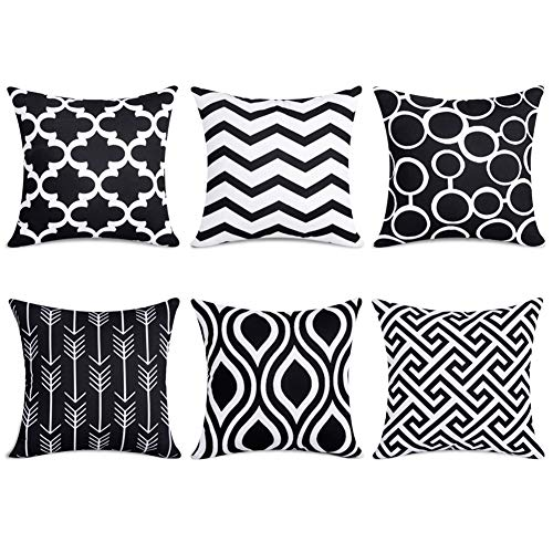 Topfinel 6er Set Kissenbezüge 40x40 cm Qualitäts Kissenhüllen in Segeltuch mit Geometrischen Mustern für Sofa Auto Terrasse Zierkissenbezüge Serie Schwarz und Weiß