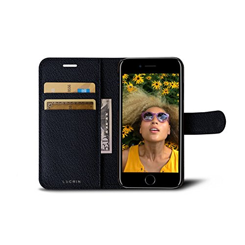 Lucrin - iPhone 7-Hülle im Brieftaschenformat - Cognac - Ziegenleder Königsblau