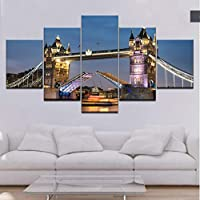 juntop London Bridge Wallpaper 5 piece Wallpapers modern Modular Poster art Canvas painting for Living Room Home Decor