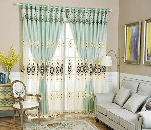 MFFACAI Vorhang Einfach Modern Doppelt Garn Stanztyp Dreidimensional Applique Schattierung Vorhang Boden bis zur Decke Windows Leinen Vorhänge aus Baumwolle Wohnzimmer Schlafzimmer Grün, h