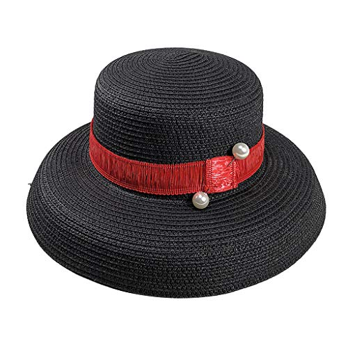 Strohhut Damen Dasongff Eimer Hut Fedorahüte großer Rand-Anti-UV Sonnenhut Faltbarer Sonnenhute Sommer Strand Breite Krempe