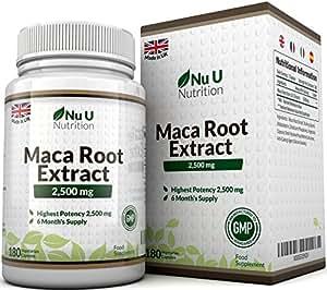 Maca-Wurzel 2500 mg hochdosiert - mit wichtigen Vitalstoffen - 6-Monats-Versorgung - 180 Kapseln - Nahrungsergänzungsmittel von Nu U Nutrition