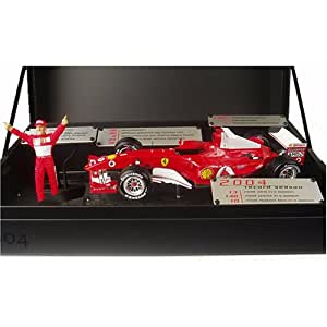 Hotwheels - L6235 - Véhicule Miniature - Racing Mattel - Ferrari F 2004 - Schumacher Career Records - Echelle 1/18