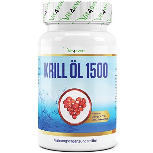 Krill Öl 1500-75 Softgel Kapseln - Hochdosiert mit 1500 mg pro Tag - Reich an EPA, DHA, Astaxanthin, Phospholipide & Omega 3 Fettsäuren, Laborgeprüft, Antarktis Krillöl in Premium Qualität