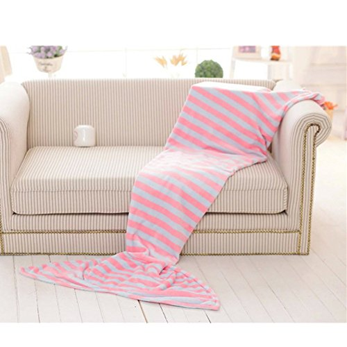 MORESAVE Mermaid Fish Tail Blanket Bed peluche per adulti / bambini Sacco a pelo morbido (Polka Peluche)