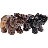 Jovivi 2pc natur geschnitzt Edelsteine Elefant Figur 3,8cm Raum Dekoration, mit Geschenk-Box Tiger Eye Stone preisvergleich bei billige-tabletten.eu