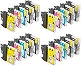 Prestige Cartridge LC1100/LC985 Lot de 20 Cartouches d'encre compatible avec Brother DCP-145C 165C 195C 385C 585CW 6690CW MFC-250C 290C 490CW 5890CN 5895CW 6490CW 990CW J615W, Noir/Cyan/Magenta/Jaune