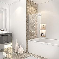 Schulte 4061554000157 Pare-baignoire rabattable, paroi de baignoire réversible, 1 volet pivotant, verre transparent, profilé aspect chromé, 70x130 cm